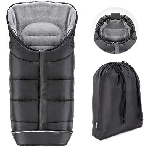 Zamboo Sacco Invernale per passeggini e carrozzine - Protezione antiscivolo, morbido pile termico, cappuccio, strisce riflettenti, borsa - Nero e grigio