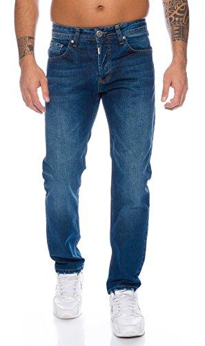 Lorenzo-Loren-Herren-Jeans-Hose-Denim-Jeans-Used-Look-Regular-Fit-LL324-Dunkelblau-W34-L36