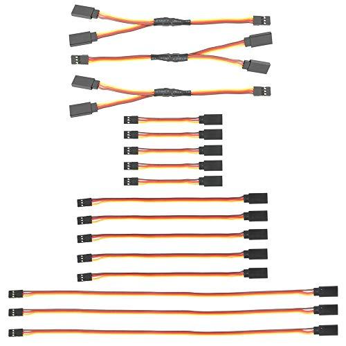 GTIWUNG 16 Pezzi Servo di Estensione per RC, 75/150/300mm Servo Extension Cable JR connettore Spina,...