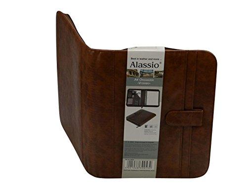 Alassio 30053 - Ringbuchmappe VITERBO im DIN A4 Format, Schreibmappe aus FINEtouch Lederimitat, Dokumentenmappe in braun, Mappe ca. 29 x 36 x 5 cm