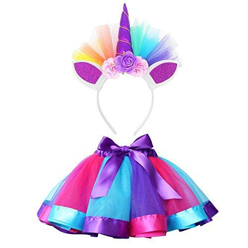 Vestito Unicorno Bambina Vovotrade Costume da Ballo per Ragazza 2 Pezzi Costume da Ballo Arcobaleno...