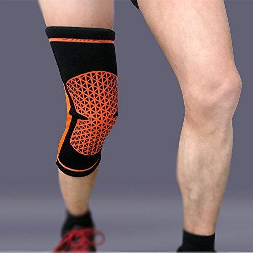 WESEASON Knee Sleeves Alter Mann Knieschützer Fallschutzausrüstung Klimaanlage Knieschützer Kniestrümpfe für Ärmel warme Leggings Rheuma Knieschützer schwarz orange Streifen,L