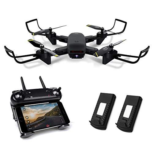 Kyerivs Drone pieghevole con videocamera Live Video, FPV WiFi Quadcopter con doppia videocamera HD...