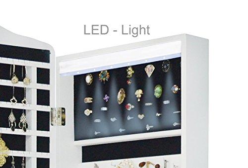 Intirilife – Eleganter Hänge-Schmuck-Schrank mit LED Beleuchtung, abschließbarer Spiegeltür mit 2 Schubladen und Haken für Ketten, Ohrringe, Schmuck in Weiss - 2