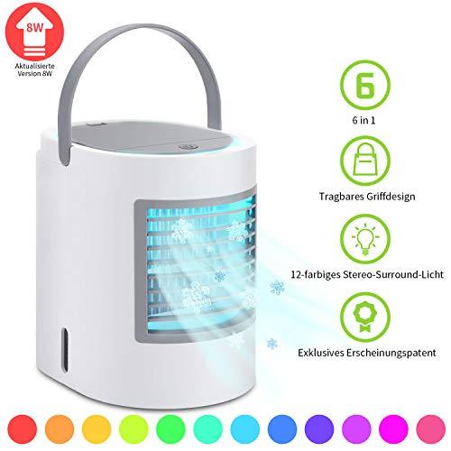 Klimagerät Mobil, 4 in 1 Mini Klimaanlage VAZILLIO Luftkühler Ventilator Luftreiniger Intelligentes Luftbefeuchter mit Nachtlicht für Home Office-Camping