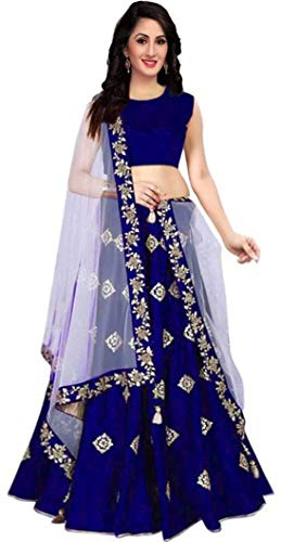 MAA KHODAL FASHION Women's Taffeta Silk Lengha Choli (Blue, Free Size)