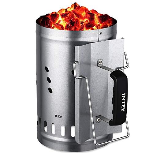INTEY Anzündkamin, BBQ Grillkohleanzünder mit Hitzeschutzblech, Thermoplastische Griff und Zusätzlicher Metallgriff, 30 x 19cm, Silber