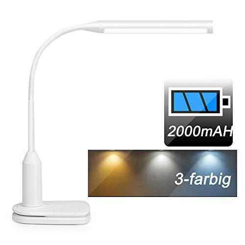 Stepless dimmbar LED Schreibtischlampe, Klemmleuchte mit wiederaufladbar Batterie (2000mAh),3-Farbe,touch-steuerung flexibler und augenpflege leselampe für Bett Büro Studie Arbeits, Weiß