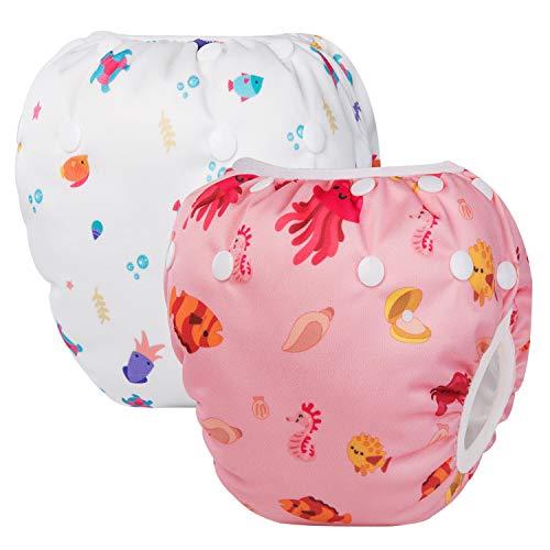 HBselect set da 2 Pannolini da Nuoto Regolabili Costumi da Bagno per Bambini Pannolini Impermeabili Riutilizzabili Costumi Piscina Neonato Carini Adatto per 0-24 mesi