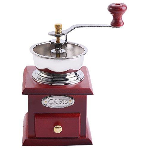 Asixx Molinillo de Café Manual, Molinillo de Café Antiguo, de Madera y Material de Acero Inoxidable, para Hacer Café de Forma Manual(Rotes Holz)