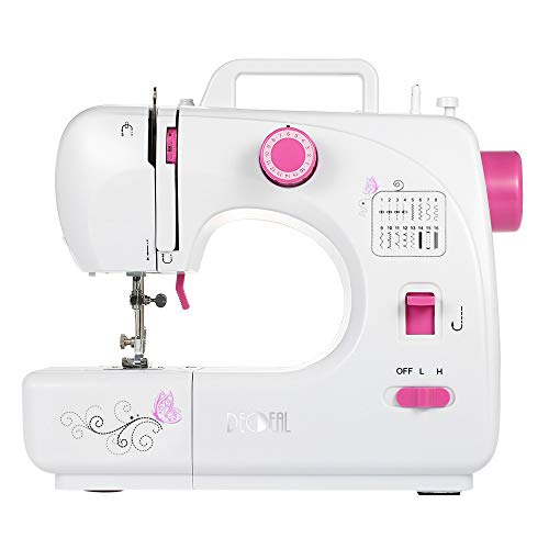 Decdeal Electric Household Sewing Machine with 16 Built-in Stitch Patterns,Double Thread Adjustable Speed Replaceable Foot with Pedal LED Light