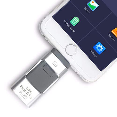 Y-Disk 3 in 1 Micro USB Pen Drives Cross USB Flash Drive for iPhone OTG i-Flash Pen Drives for iPhone iPad Samsung Phones Pendrives (64GB, Silver)