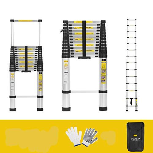 Finether 5M Échelle Télescopique Portable et Pliante Echelle Escamotable Polyvalent Multi-Fonction en Aluminium, 14 Echelons, Certifié EN131, 150 Kg