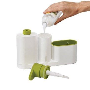New Arrival Plastic 2 In 1 Multipurpose Sink Tidy Set Liquid Soap Dispenser, Standard, Multicolour 2