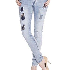 Blue Monkey Damen Skinny Jeans mit Perlen Layla