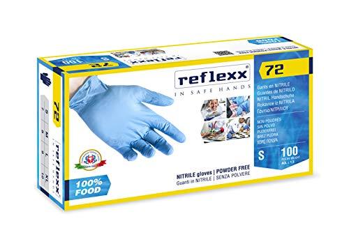 Reflexx R72, Guanti in Nitrile senza Polvere, Taglia L, Speciali per Alimenti, 100 Pezzi, Azzurro