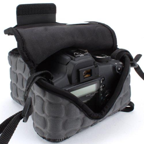 Robuste Kameratasche für Spiegelreflexkameras von USA Gear: Kamera-Schutzhülle aus Neopren für DSLR/SLR mit Zubehörtasche, Grau, ideal für Canon EOS 1300D/200D, Nikon D3400 & mehr