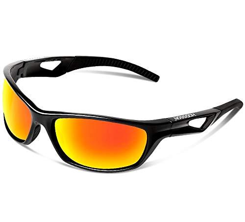 hodsgon Polarisierte Sportbrille Sonnenbrille Fahrradbrille mit UV400 Schutz für Damen und Herren Autofahren Laufen Radfahren Angeln Golf TR90 (Black/Red)