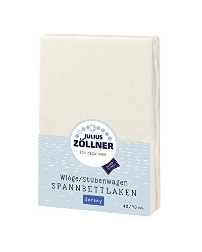 Julius Zöllner 8330013230 Jersey Spannbetttuch für Wiegen 90x40 und Stubenwagen, Farbe: ecru