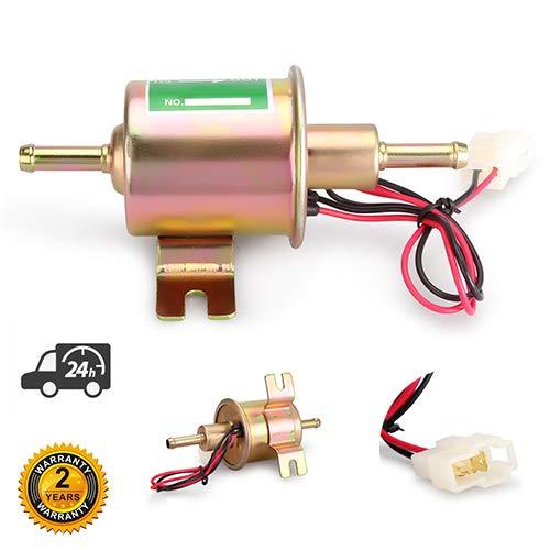 Bomba de combustible eléctrica universal de 12 V de alta resistencia, perno de metal de baja presión, cable de fijación en línea para gasolina y diésel HEP-02A dorado