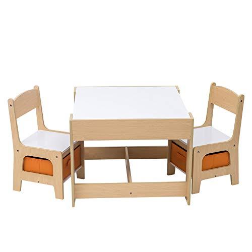 WOLTU SG002 Set Mobili con Lavagna Contenitore Tavolo e Sedie Bambini Gioco Tavolino con 2 Sgabelli...