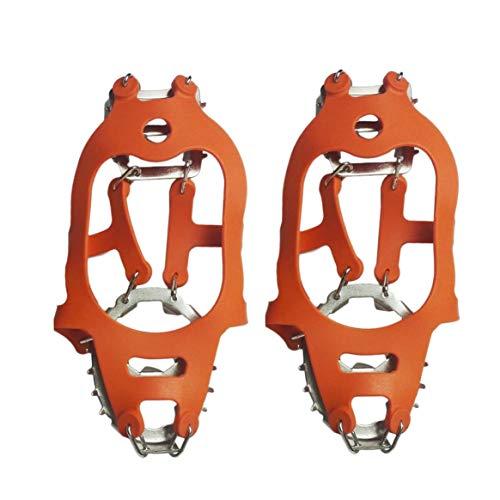 Delicacydex 24 Dientes Antideslizante Ice Snow Climbing Shoes Cover Antideslizante Spike Cleats Crampons para montañismo Escalada en Roca - Naranja L