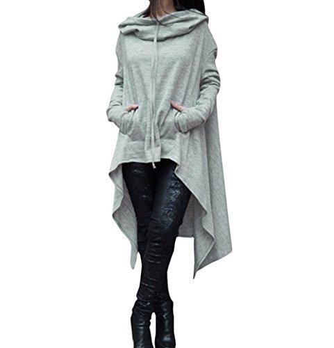 ASSKDAN Damen Casual Langarm Unregelmäßige Pullover mit Kapuzen Sweatshirt Tunika Bluse Oversize Minikleid (Europäische Standardgröße )