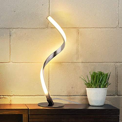 Albrillo Lámpara de Mesa LED Espiral - Lámpara de Escritorio Moderna de Aluminio, Lámpara de Cabecera Curvada, con Cable de 1,5 m, Iluminación Decorativa para Dormitorio, Sala de Estar, Blanco Cálido