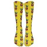 Kaixin J Men's Women's Novelty Pineapple Skull Pattern Long Sock Athletic Calf High Crew Soccer Socks Sports