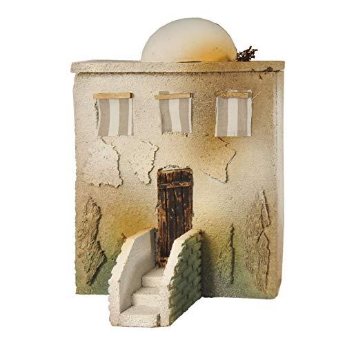 De Sisinno Casa per presepe Orientale con Scala e Cupola, Linea Prêt-à-Porter, per statuine da 10 cm - Dim. H30x20x6 cm