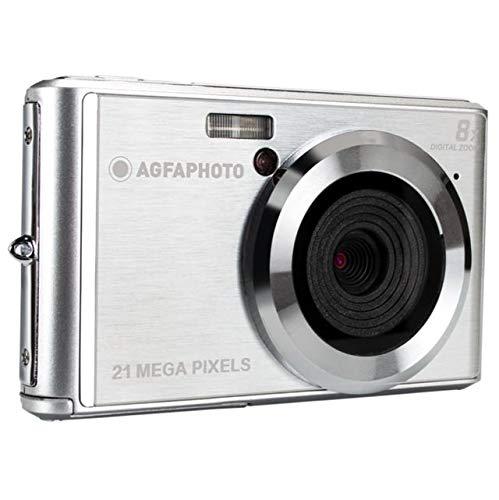 AGFA Photo - Fotocamera digitale compatta con sensore CMOS da 21 Megapixel, zoom digitale 8x e display LCD, colore: Argento