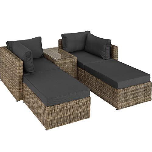 TecTake 800694 Aluminium Polyrattan Multifunktions Loungegruppe Gartensofa mit Tisch, für Garten oder Terrasse, vielseitig kombinierbar, inkl. Polster - Diverse Farben (Natur | Nr. 403168)