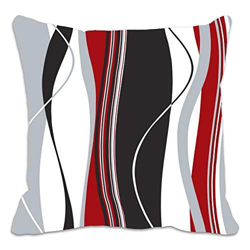 Copricuscino con strisce verticali ondulate; ideale per soggiorno, divano ecc.; colori: rosso, nero,...