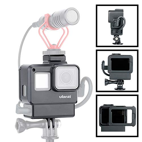 Custodia Protettiva ULANZI V2 Custodia a Gabbia Telaio Vlog per Microfono/Luce Video Compatibile con GoPro Hero 7 6 5, Accessori per Action Camera, Vlogging