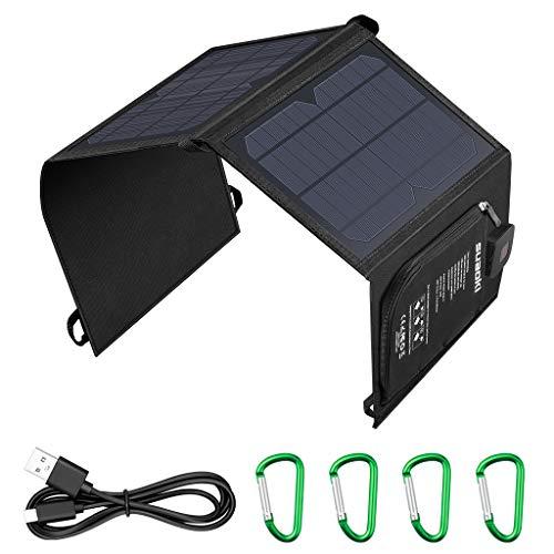 SUAOKI Cargador Solar 21W, Panel solar portátil impermeable, con Amperímetro, Tecnología TIR-C, múltiples salidas de USB 2.0, para teléfonos inteligentes, tabletas, bancos de energía etc.