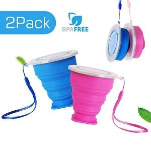 2 pcs Tazas de Viaje 200ml de Silicona Plegable Portátil y Reutilizable,Vaso Con Tapa sin BPA para camping senderismo y Viaje.(Azul y Rosa) 6