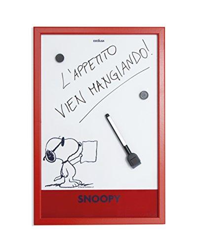 Excelsa Peanuts Lavagnetta Magnetica, Legno, Rosso, 45x30x2 cm