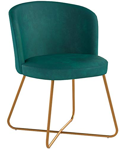Duhome 2X Sedia da Sala da Pranzo Verde bluastro Blu Tessuto (Velluto) Sedia Imbottita Design Retro Vintage con Piedini in Metallo Sedia di Sala d'attesa conferenza Selezione Colore 8076X