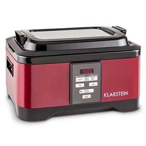 Klarstein Tastemaker • fornello sotto-Vuoto • 550 Watt • intervallo di Temperatura 40-90°C • Tempo di Cottura: 1-24h • Coperchio in Vetro • Funzionamento Touch • Acciaio Inox • Coperchio • Rosso