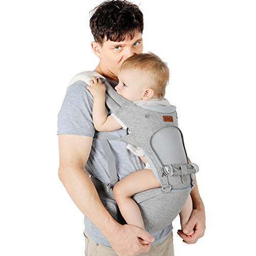 Lictin Porte-bébé ergonomique avec siège et capuche amovibles, ajustable et respirant-...