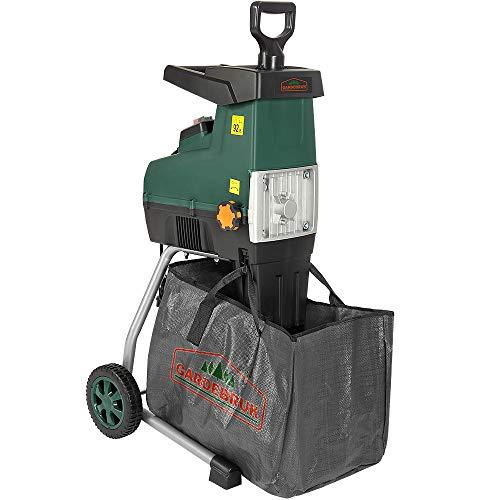 Monzana Elektrischer Leisehäcksler | 2800W | max. 44mm Aststärke | 60L Auffangbeutel | Gartenhäcksler Walzenhäcksler Schredder Häcksler