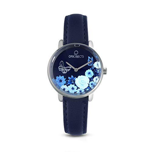 OPS!OBJECTS Bold Flower Orologio da polso Donna 34 mm, Blu e Argento, OPSPW-556