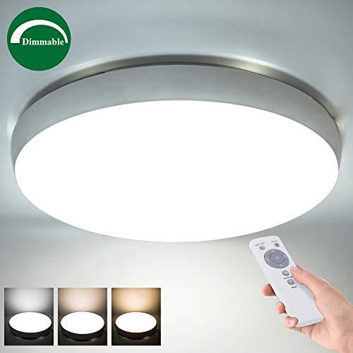 LED Deckenleuchte mit Fernbedienung, dimmbar, 3600 Lumen Kunststoff 40W Φ49cm,Farbton: Warm Neutral kalt Weiß, Deckenlampe Inkl.Nachtlicht-Funktion, Timerfunktion, für Wohnzimmern, Schlafzimmern