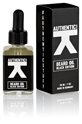 Beard Oil Black Edition von Authentic Stuff - hochwertig natürliches Bartöl mit Arganöl zur Bartpflege mit männlichem Duft aus Deutschland, Bart Öl, 1 x 30 ml