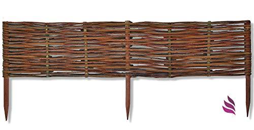 Floranica Weide Beeteinfassung, Steckzaun in 25 Größen, Rasenkante, Weidenzaun - imprägniert mit Buchepflöcke für leichtes Einsetzen, Länge:100 cm, Höhe:20 cm