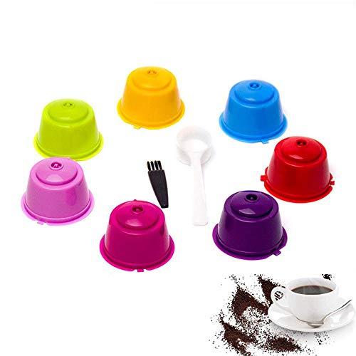PAWACA 7 PCS Colore Ricaricabile riutilizzabili Dolce Gusto caffè in Capsule Compatibile con Nescafe Genio, Piccolo, Esperta e Circolo