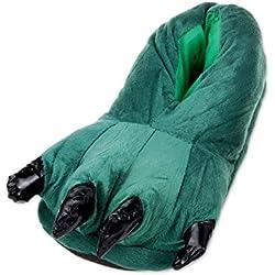 DSstyles Monster Claw Inicio Zapatos Zapatillas Novedad Zapatillas Hombre para Invierno Zapatillas Indoor Mujer con Animales Paw - Verde