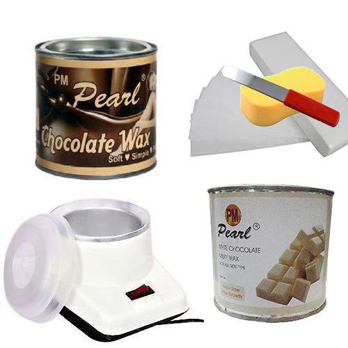 PMPEARL Waxing Kit Combo (Wax Heater + Chocolate Wax (600 gm) + White Chocolate Wax (600 gm) + Wax Strips (30) + Wax Spatula + Sponge)