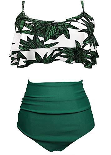 AOQUSSQOA Damen Badeanzug Rüschen Hals Hängen Bikini Sets Zweiteilige Bademode mit Hoher Taille Strandkleidung (EU 38-40 (M),Bambus)
