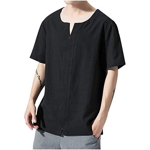 zarupeng‿ Moda Casual de Verano para Hombres Blanco Negro Algodón Lino Suelta Comodidad Transpirable Manga Corta Camisetas Tops
